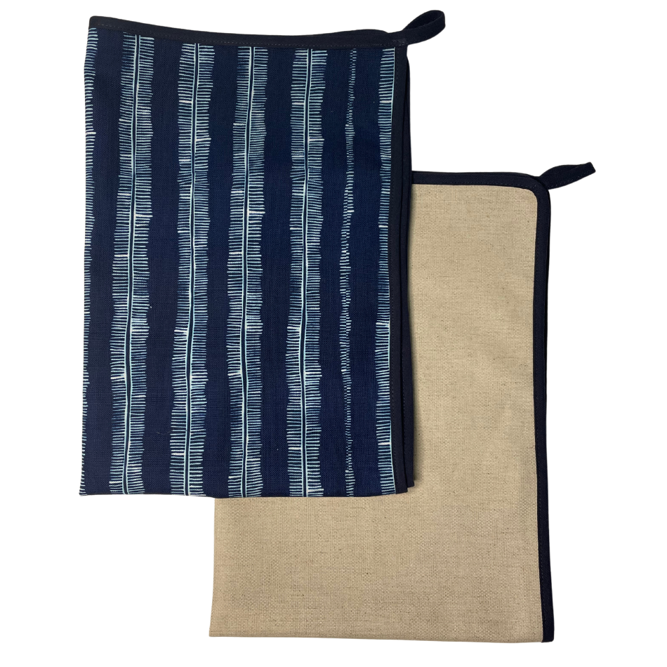Indigo Spine with Navy Binding Kitchen Towel set of 2