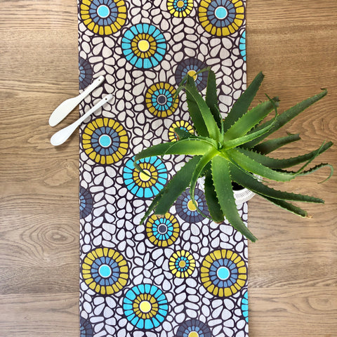 Table Runner Okra Aqua