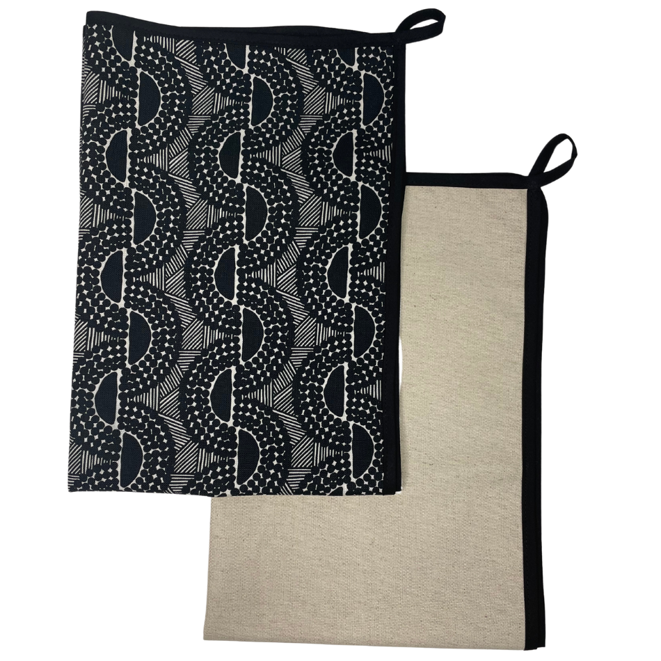 Peppercorn with Black Binding Kitchen Towel set of 2