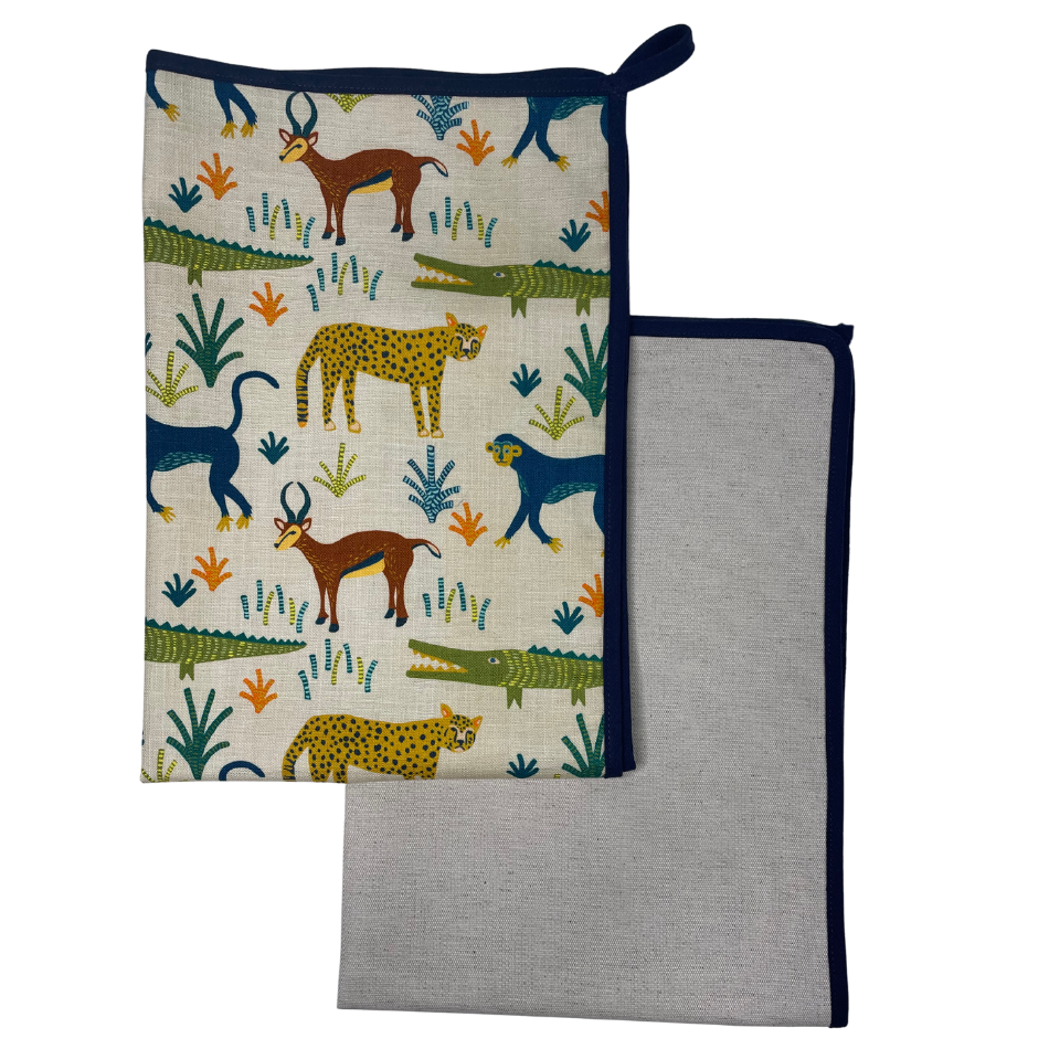 Safari Day with Navy Binding Kitchen Towel set of 2