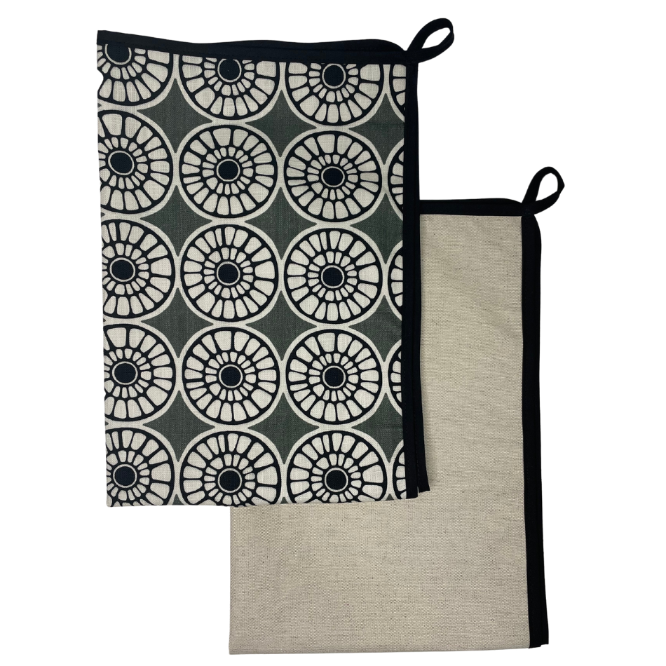 Senegal Grey with Black Binding Kitchen Towel set of 2