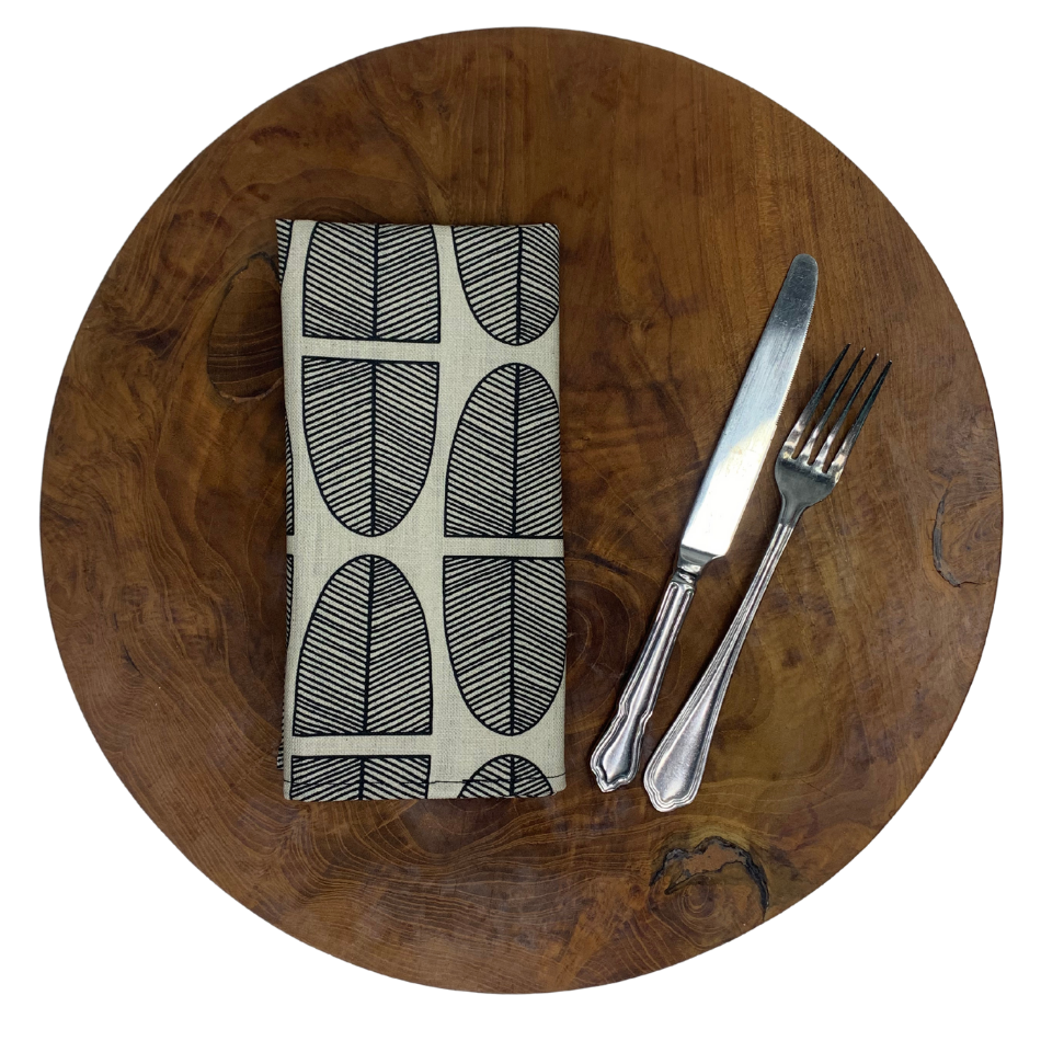 Napkin Set of 2 Banana Leaf Black