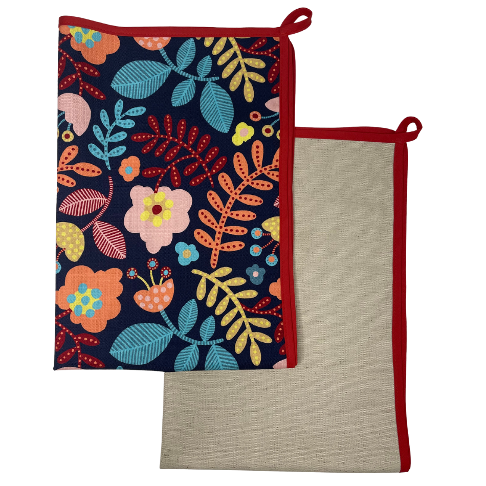 Ella Navy with Red Binding Kitchen Towel set of 2