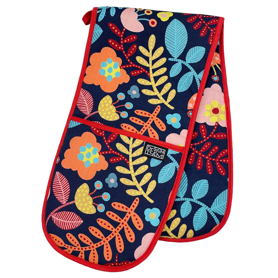 Ella Navy Oven Glove with Red Binding