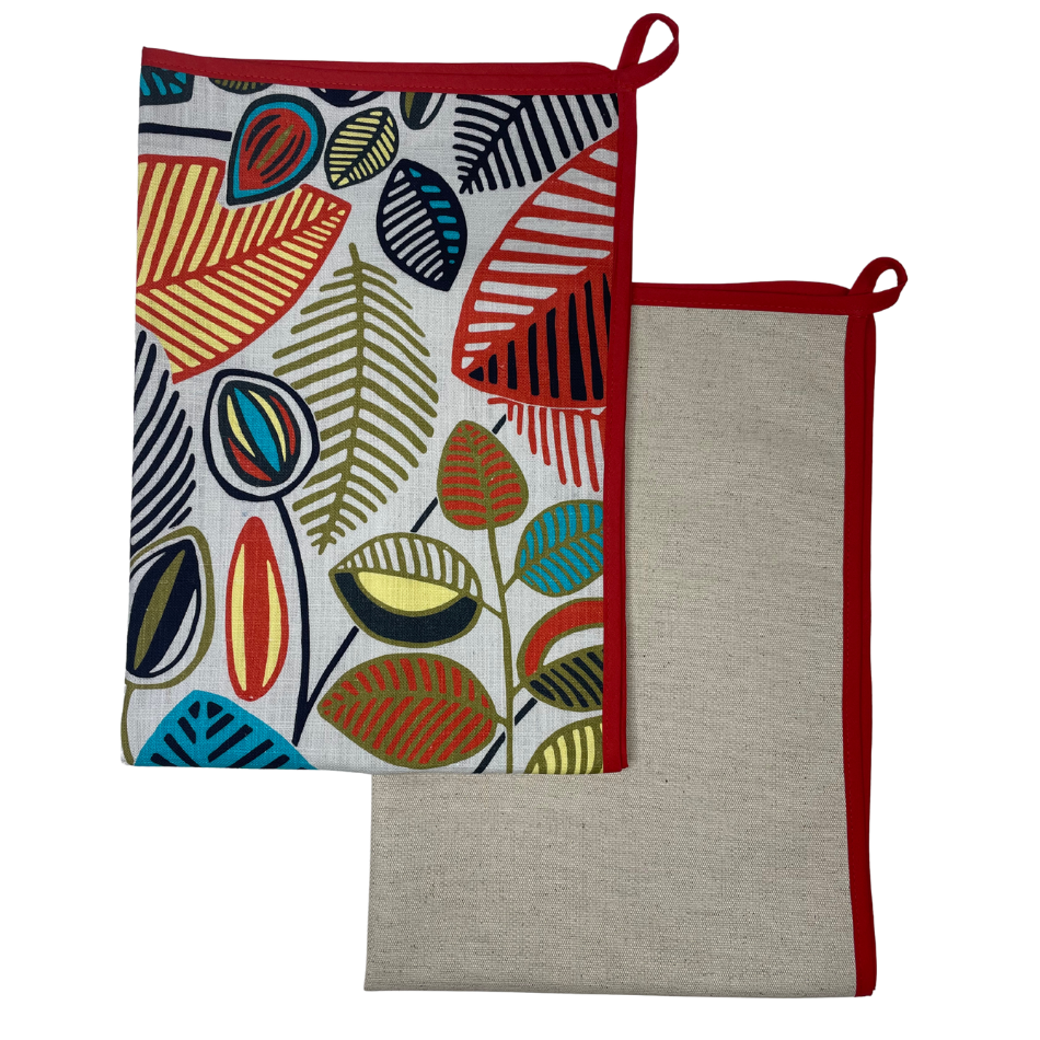 Stillo Aqua with Red Binding Kitchen Towel Set of 2