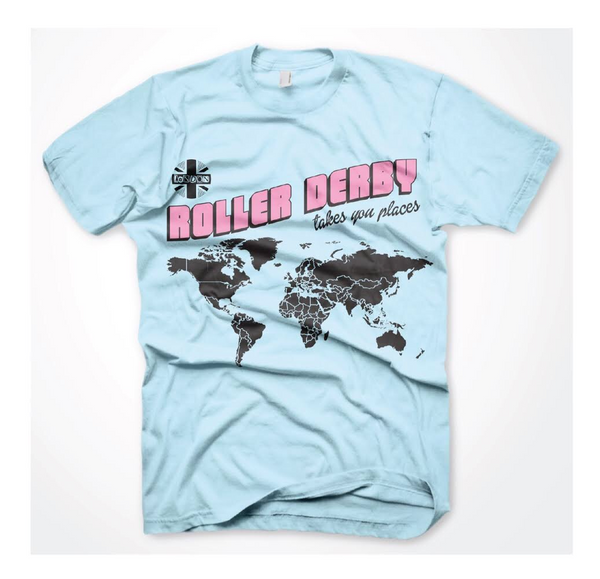 ROLLER DERBY TAKES YOU PLACES unisex T *HALF PRICE SALE*