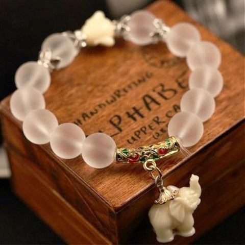 Natural Crystal Elephant Bracelet