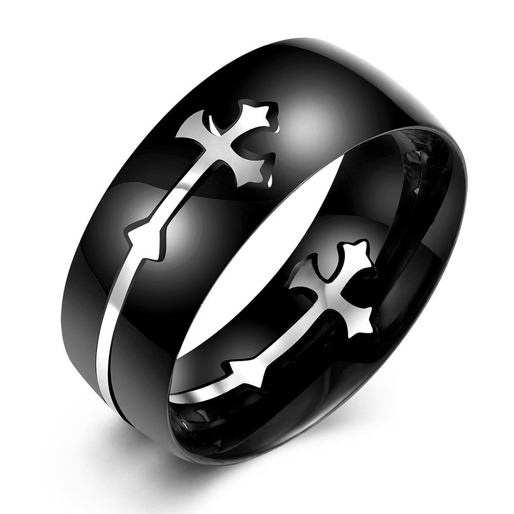 Gothic Black Cross Ring (Size 7-10)