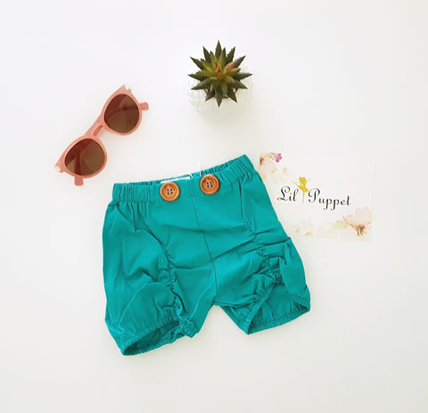 Teal Button shorts