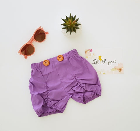 Lavendar Button shorts