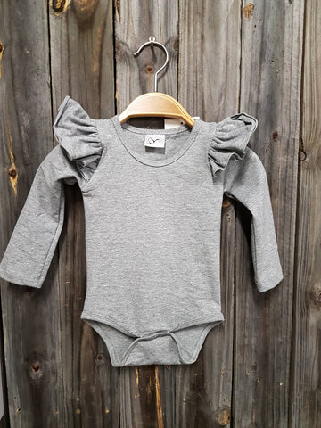 Grey Long Sleeve Flutter