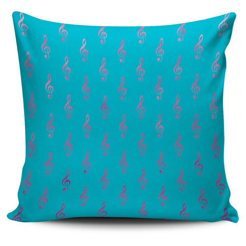 Pillow Pink Treble Clefs on Blue