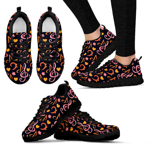 Pink & Orange Clefs Shoes. Womens Sneakers