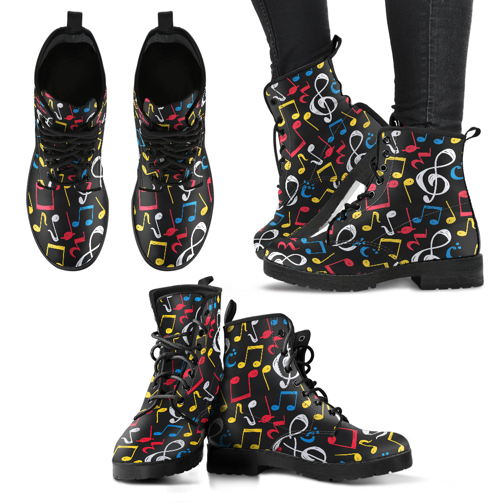 Colorful Music Note Mix Shoes. Womens Leather Boots