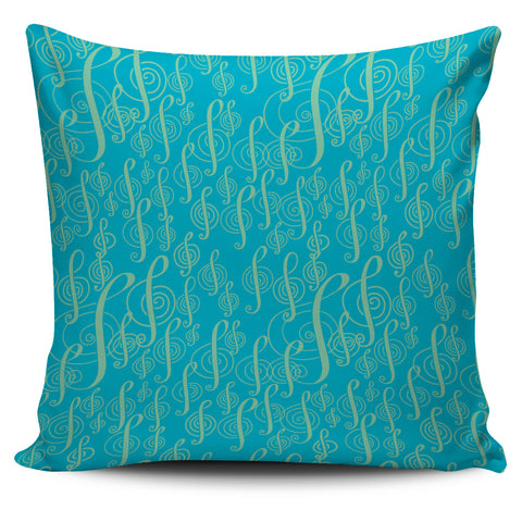 Treble Clefs Pillow Turquoise and Green.
