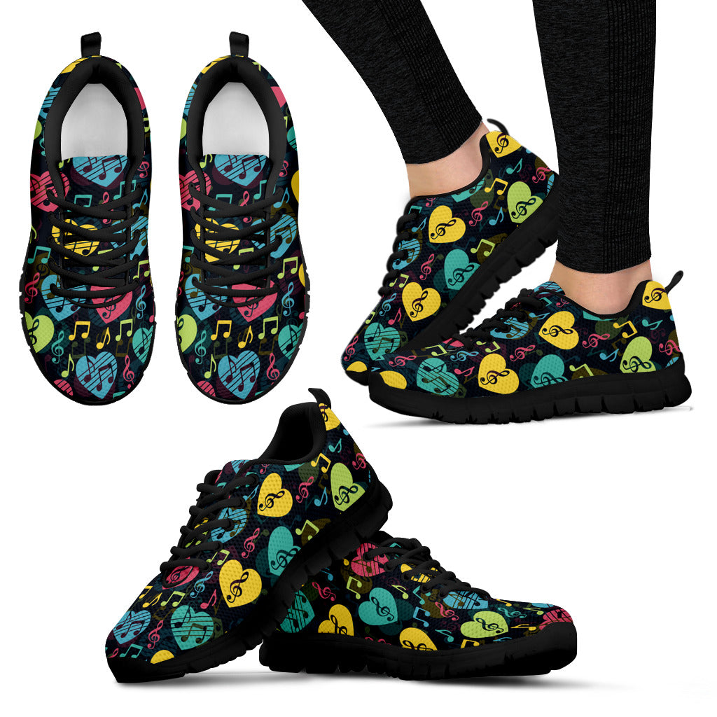Womens Sneakers. Music Heart Design Shoes.