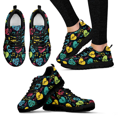 Image of Womens Sneakers. Music Heart Design Shoes.