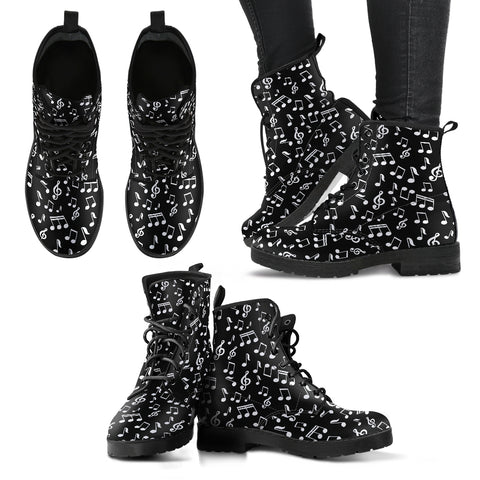 Music Notes Design Shoes Womens Leather Boots EXPRESS Delivery