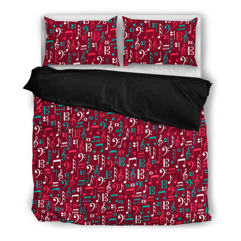 Red Mix of Music Notes Bedding Set