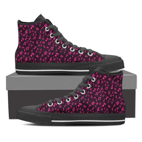 Image of Womens Pink Music High Top  Canvas Shoes