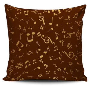 Brown Pillow with Golden Music Notes