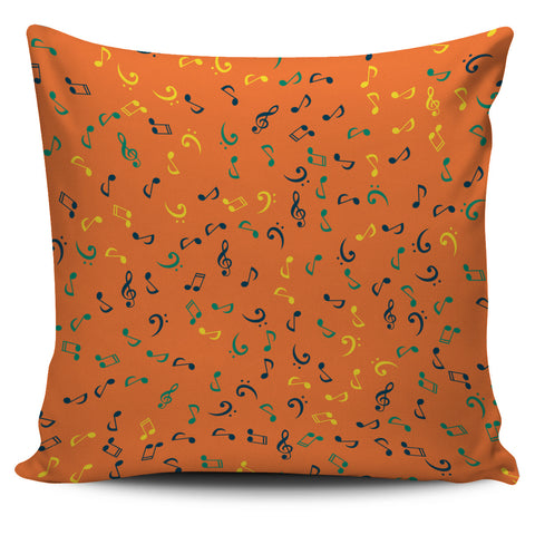 Orange Music Note Pillow