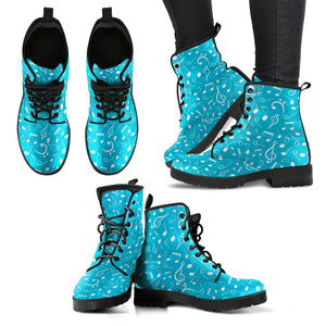 Light Blue Music Note Shoes. Womens Leather Boots EXPRESS Delivery