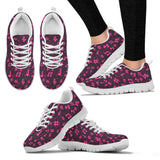Womens Pink Music Notes Sneakers Shoes