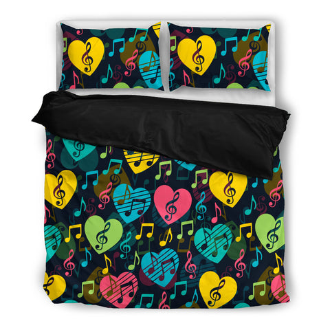 Image of Colorful Hearts Music Bedding Set