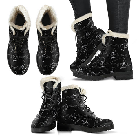 Modern Treble Clef Design Faux Fur Leather Boots Winter Shoes