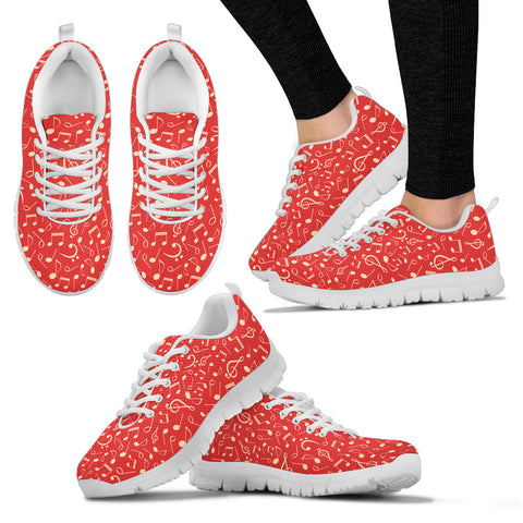 Red Music Notes Sneakers for Women