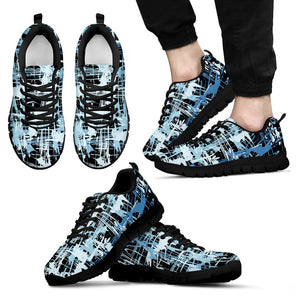 Blue Grafitti Shoes. Mens Sneakers.
