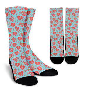 Treble Clef Hearts Socks