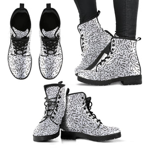 White Music Note Design Shoes. Womens Leather Boots EXPRESS Delivery