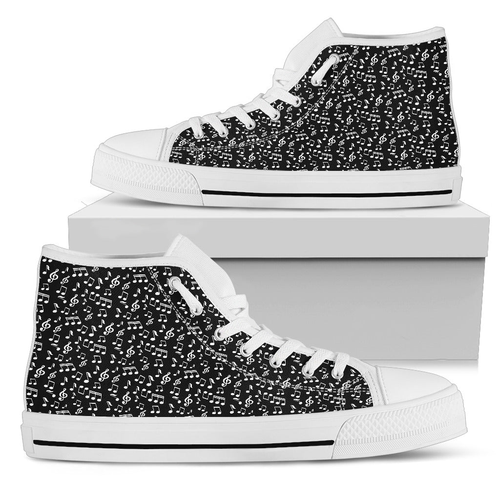 Mens High Top Canvas Shoes. Black Music Note Design.