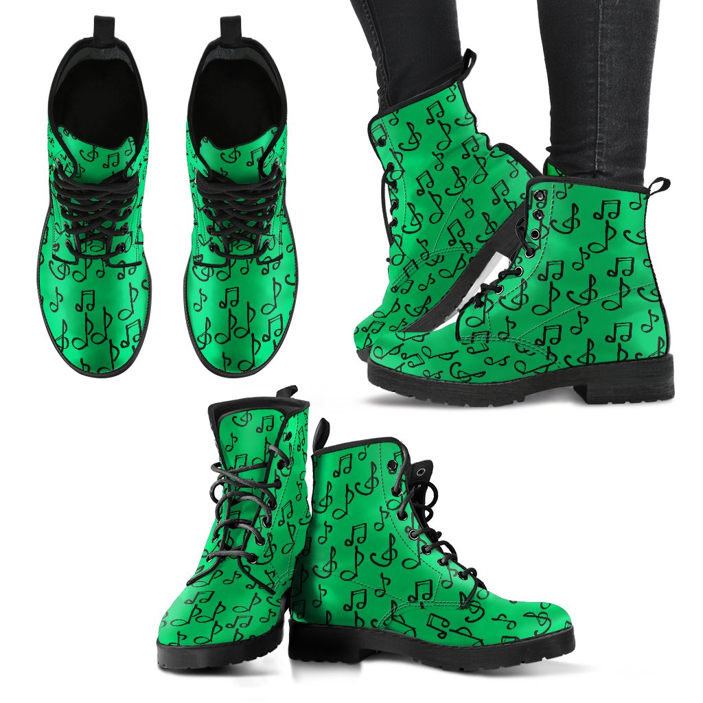 Green Music Notes Shoes.  Womens Leather Boots EXPRESS Delivery