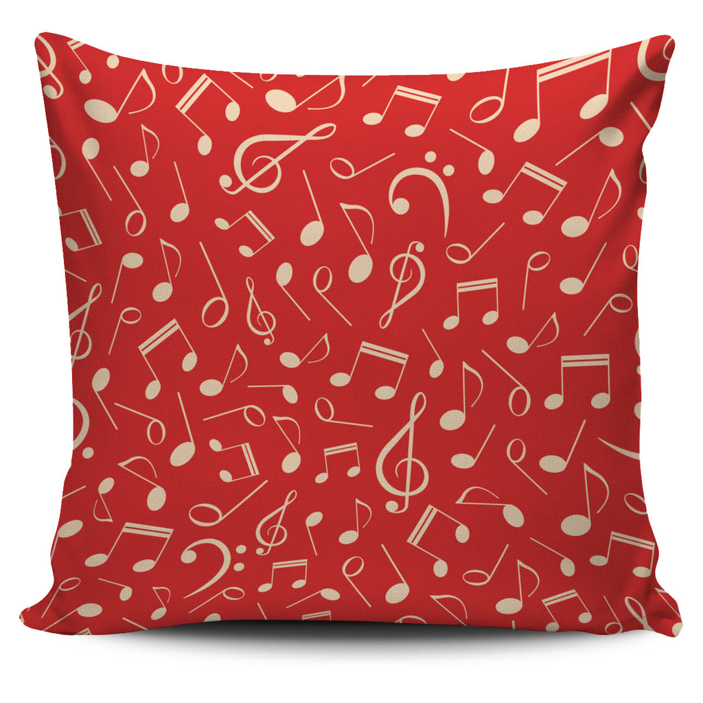 Red Music Notes Pillow