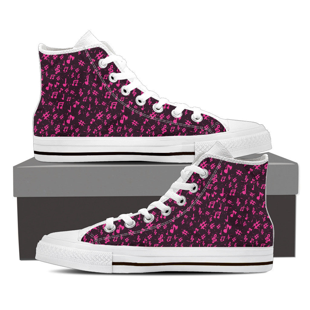 Womens Pink Music High Top  Canvas Shoes