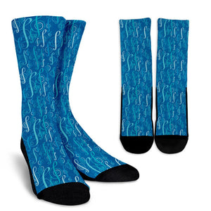 Blue Treble Clef Socks