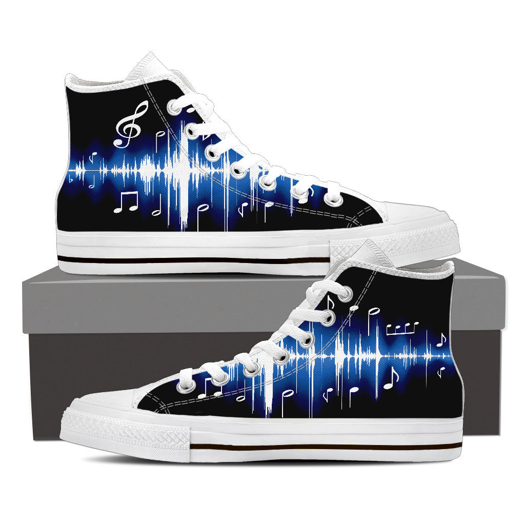 Mens High Blue Music High Canvas Shoes