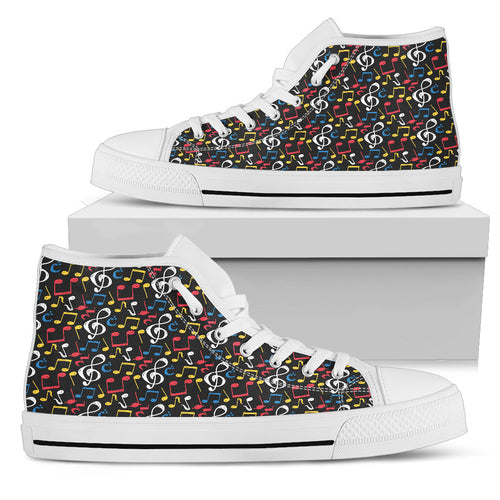 Music Notes Mix of Color Shoes. Womens High Top Canvas