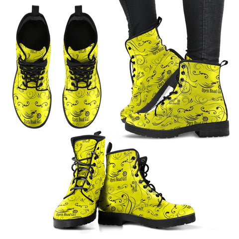 YELLOW Open Road Girl Color Scattered Women's Leather Boots