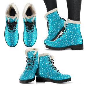 Blue Notes Design Faux Fur Leather Boots Shoes