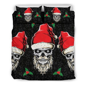Evil Christmas Skull Santa Bedding Set