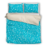 Bedding Set Music Notes Blue