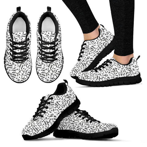 Image of Womens Music Notes Sneakers Black Heel Shoes.