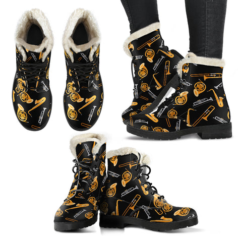 Wind Instruments Faux Fur Leather Boots Winter Shoes