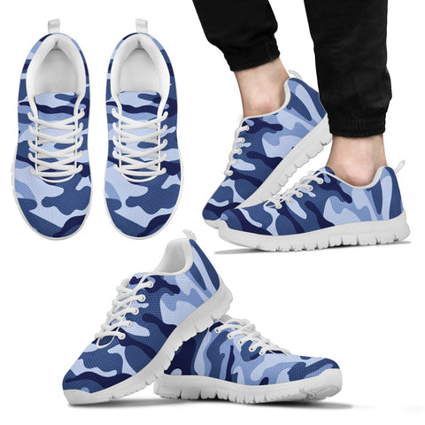 Mens Sneakers. Blue Camouflage Shoes