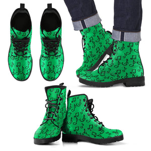 Green Music Note Shoes. Mens Leather Boots EXPRESS Delivery