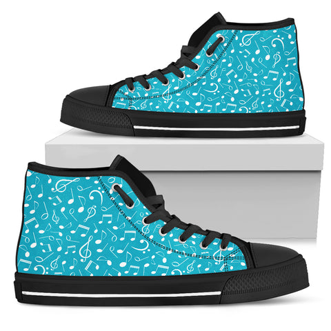 Image of Turquoise Note Design Shoes Big Notes Womens Canvas